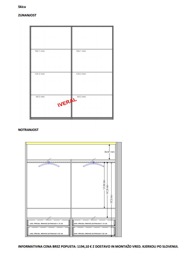 cena dvodelne vgradne omare