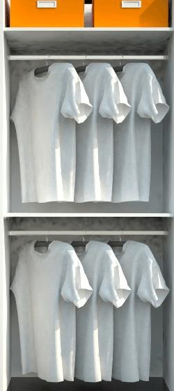 notranjost omare z obešalnimi palicami