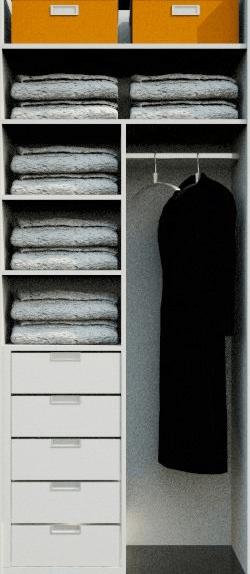 notranjost omare za daljše obleke