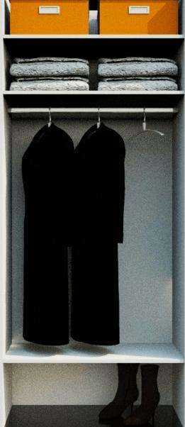notranjost omare za plašče in dolge obleke